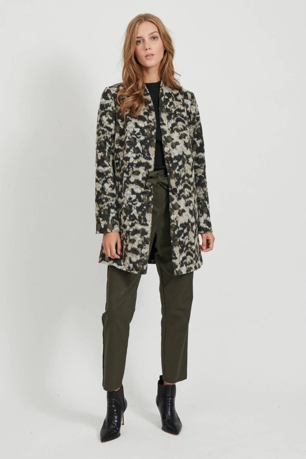 VILA coat winter met dierenprint grijs/zwart, Grijs/zwart