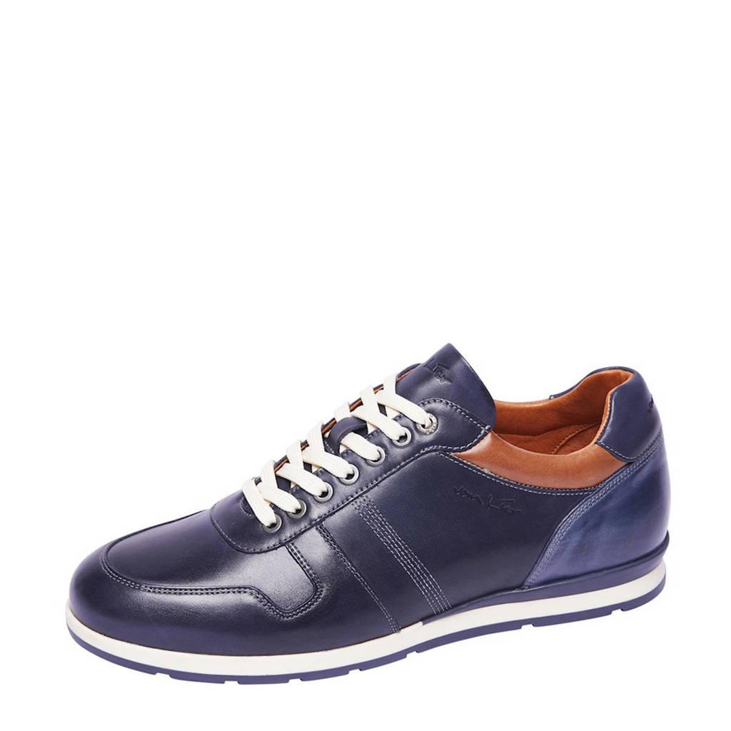 Van Lier Davinci  leren sneakers blauw/cognac, Blauw