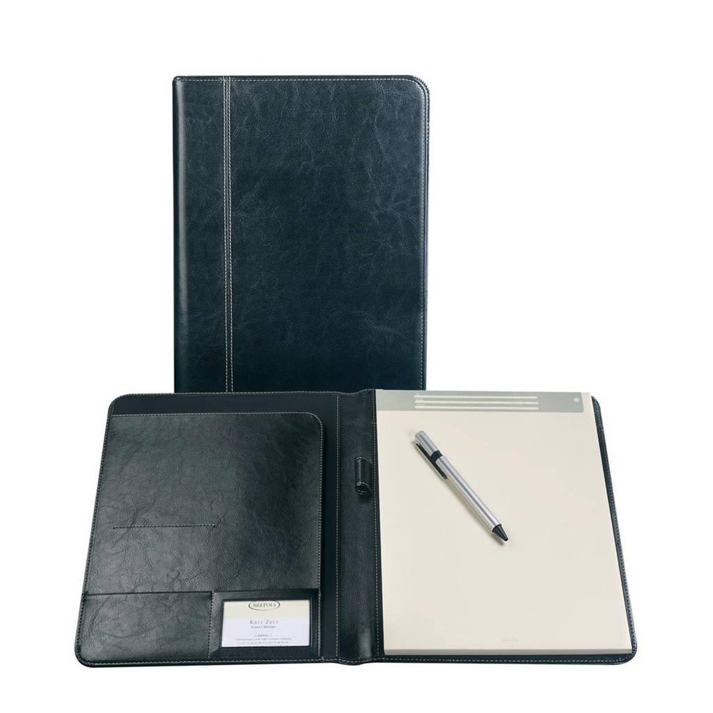 Brepols schrijmap + blok Palermo A5 zwart, Zwart