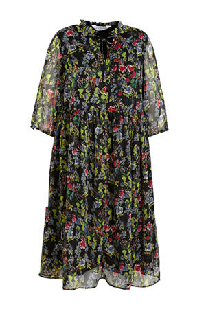 semi-transparante maxi jurk met all over print zwart