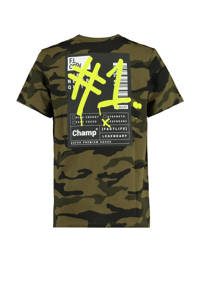CoolCat Junior T-shirt Eloi met camouflageprint donkergroen, Donkergroen