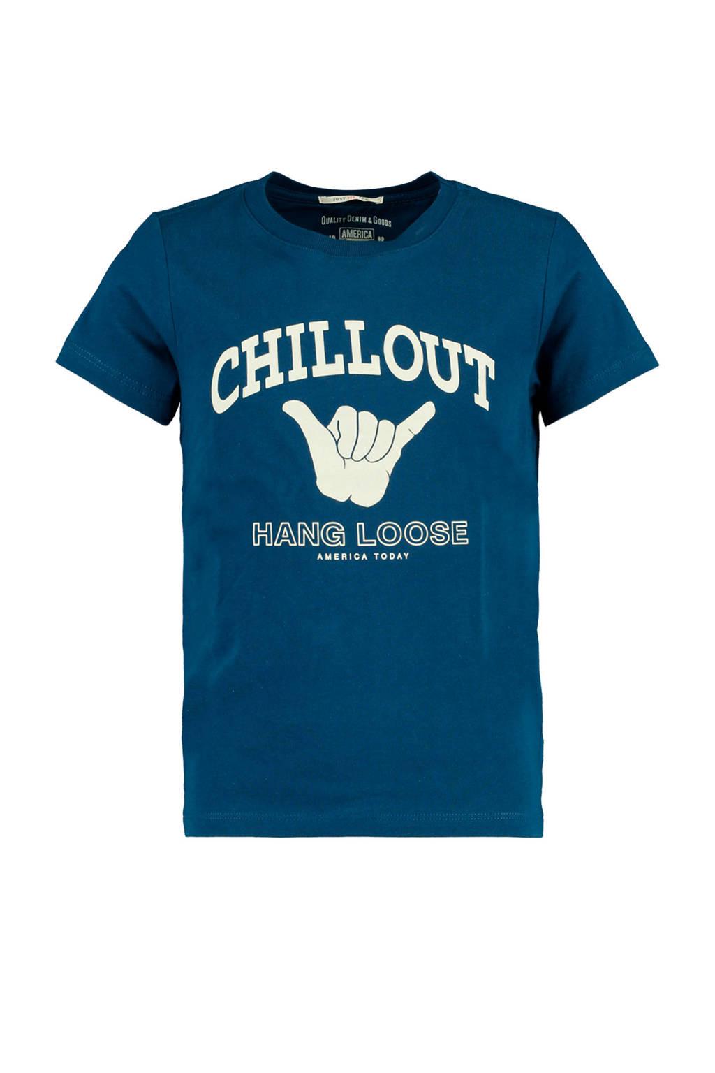 America Today Junior T-shirt Edwin met printopdruk blauw, Blauw