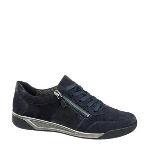 comfort leren veterschoenen donkerblauw