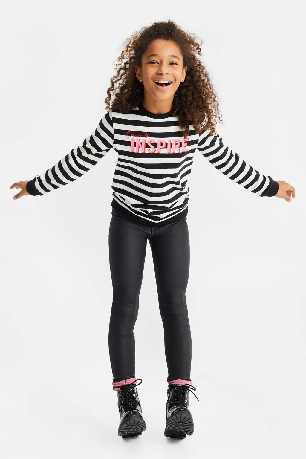 WE Fashion gestreepte sweater zwart/wit/roze, Zwart/wit/roze