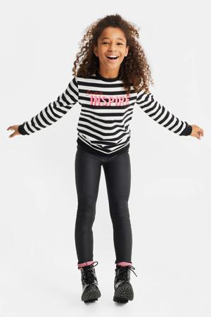 gestreepte sweater zwart/wit/roze