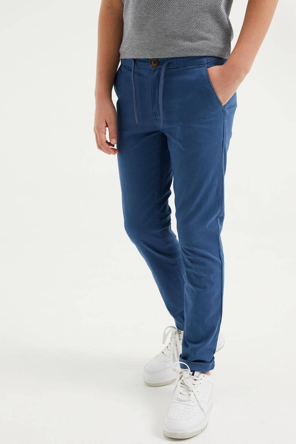WE Fashion slim fit broek blauw, Blauw