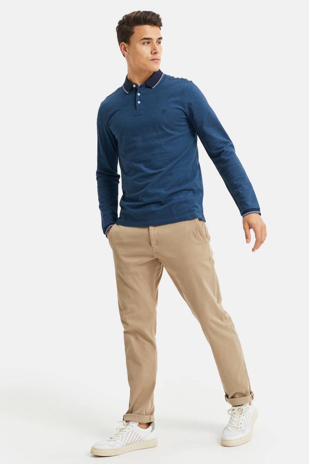 WE Fashion slim fit polo met contrastbies blauw, Blauw