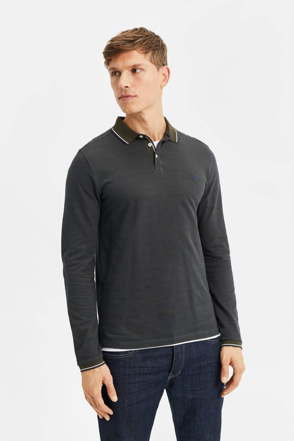 WE Fashion slim fit polo met contrastbies donkergroen/donkerblauw, Donkergroen/donkerblauw