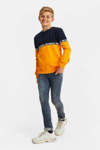 WE Fashion sweater geel/donkerblauw/wit, Geel/donkerblauw/wit