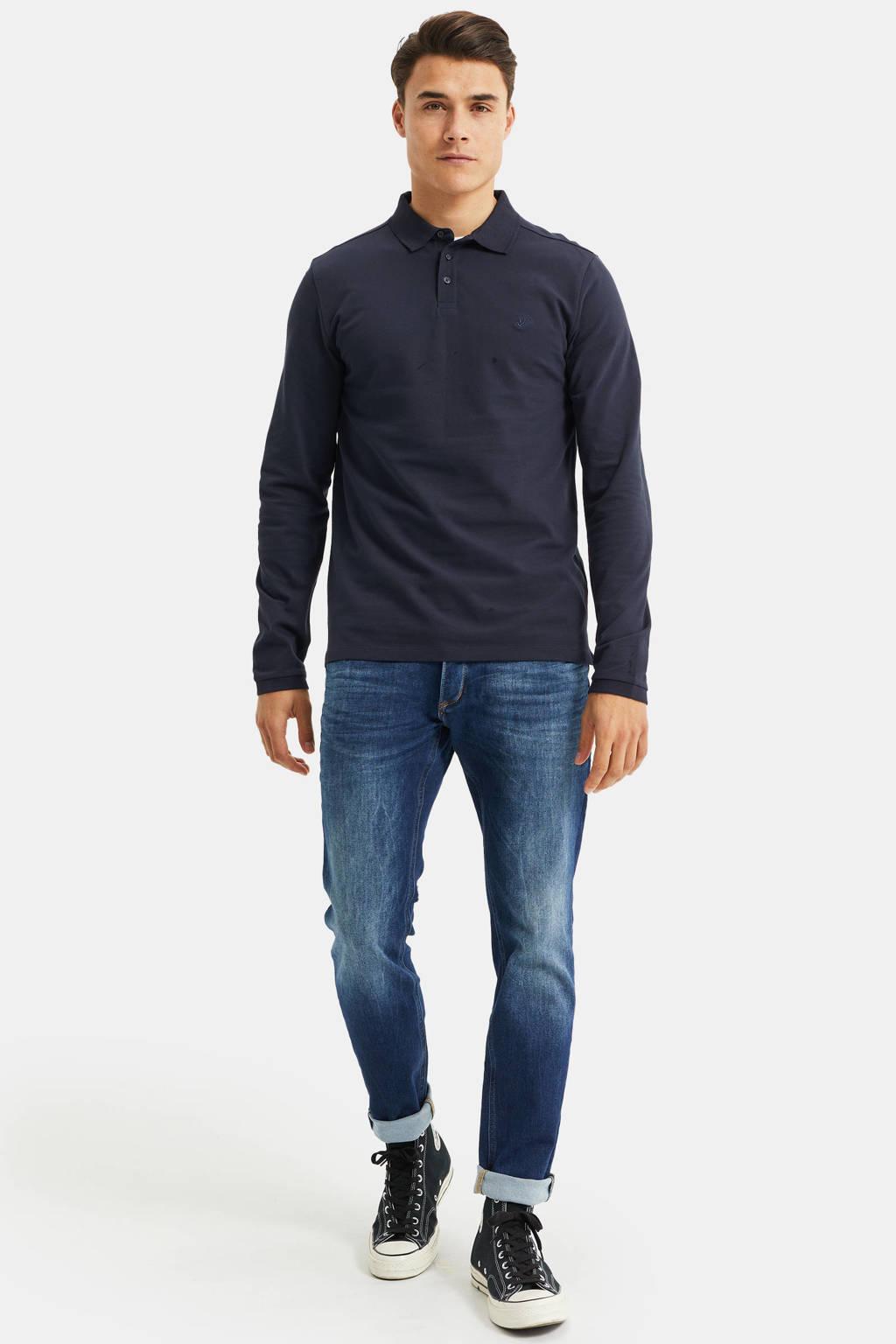 WE Fashion slim fit polo donkerblauw, Donkerblauw
