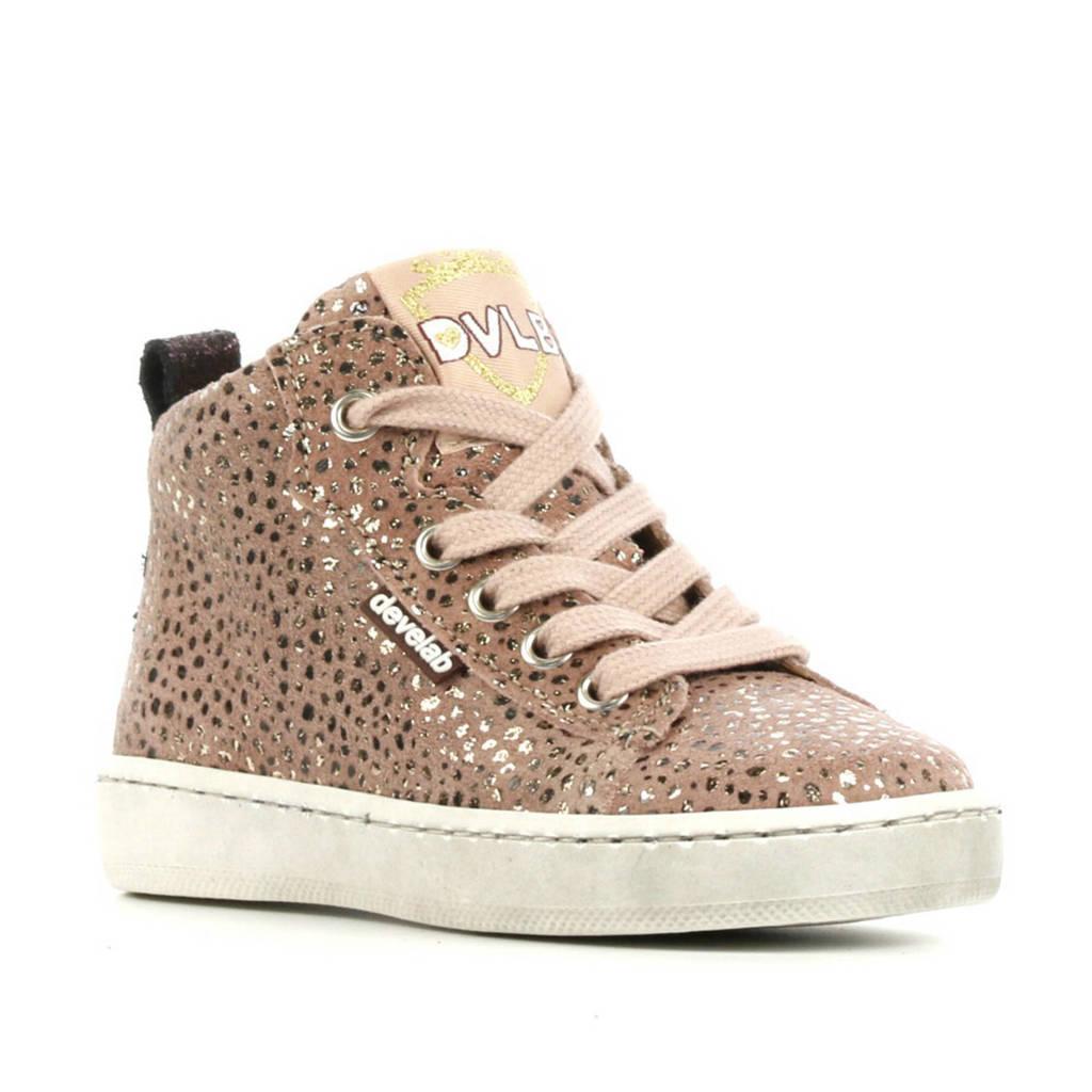 Develab 41082  hoge leren sneakers oudroze, Oudroze