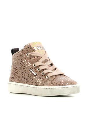 41082  hoge leren sneakers oudroze