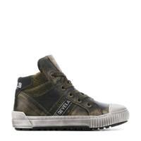 Develab 41667   hoge leren sneakers groen, Groen