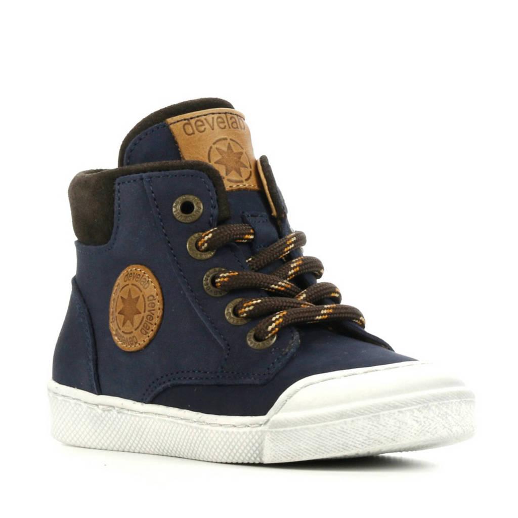 Develab 44217  hoge leren sneakers donkerblauw, Donkerblauw