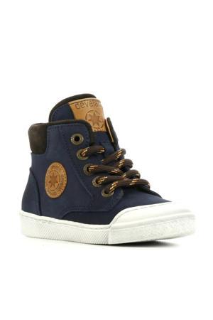 44217  hoge leren sneakers donkerblauw