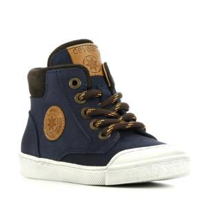 leren hoge sneakers bruin
