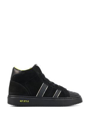 H1943  hoge suède sneakers zwart