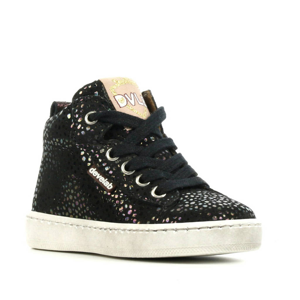 Develab 41082   hoge leren sneakers met glitters zwart, Zwart
