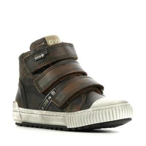 41669  hoge leren sneakers met klittenband bruin