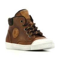 Develab 44217  leren hoge sneakers bruin, Lichtbruin