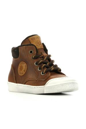 44217  leren hoge sneakers bruin