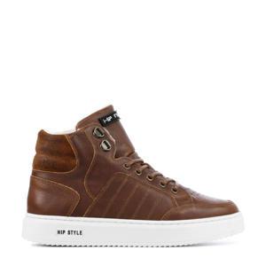 H2970   leren hoge sneakers bruin