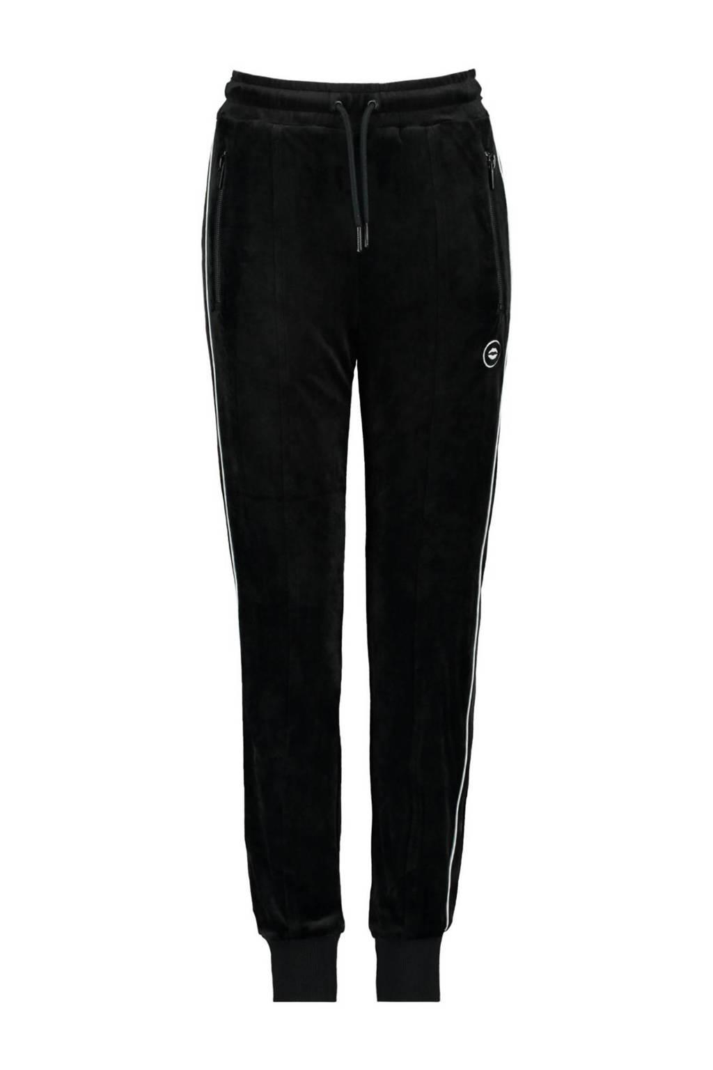CoolCat Junior velours joggingbroek Coco met zijstreep zwart/wit, Zwart/wit