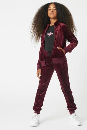 velours vest Sassie met contrastbies bordeaux
