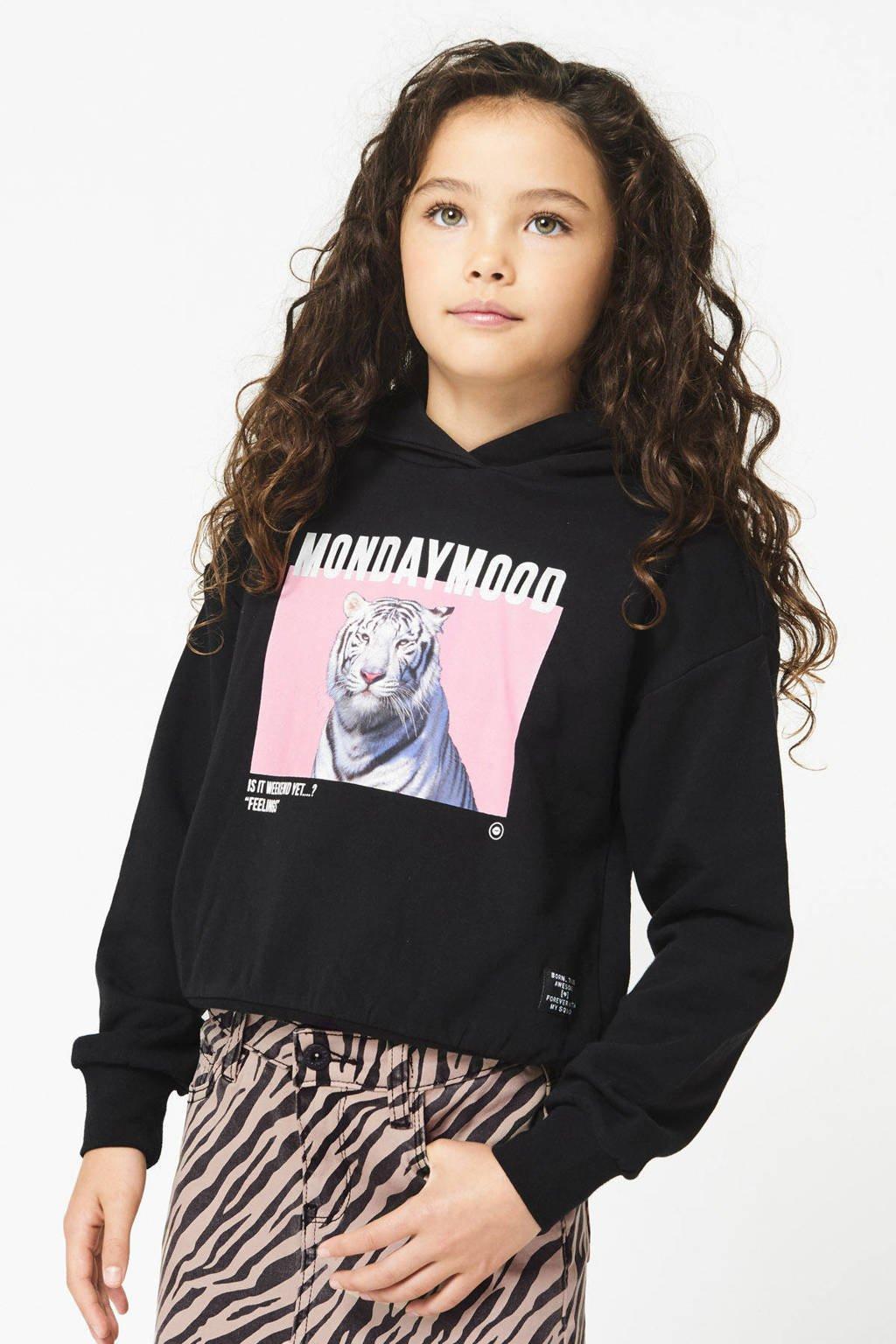 CoolCat Junior hoodie Seray met printopdruk zwart, Zwart
