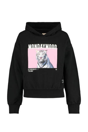 hoodie Sery met printopdruk zwart