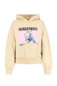 CoolCat Junior hoodie Sery met printopdruk zand, Zand