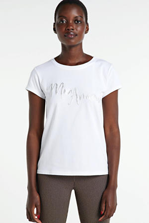 T-shirt met tekstprint wit/zilver
