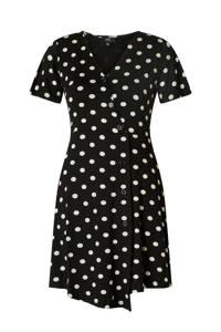 Yest jurk met stippen zwart/wit, Zwart/wit
