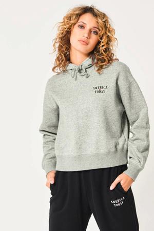 hoodie Stacy met biologisch katoen mid grey melange