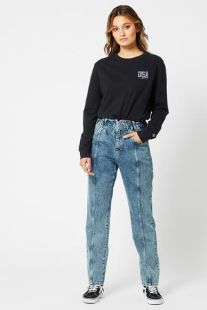 high waist tapered fit jeans Maggie used blue