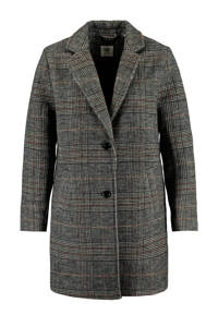 America Today geruite coat Judy met wol grijs/zwart/lichtroze, Grijs/zwart/lichtroze