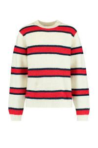 America Today Junior gestreepte trui Kristie ecru/rood/donkerblauw