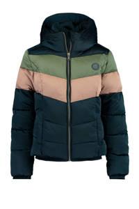 America Today Junior gewatteerde winterjas Jess donkerblauw/army groen/roze, Donkerblauw/army groen/roze