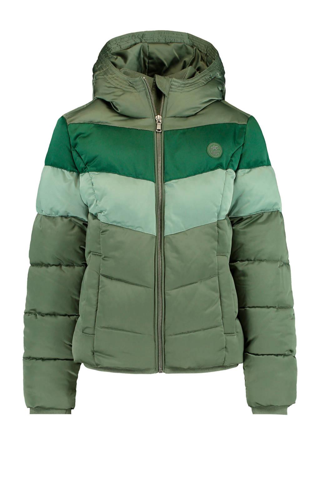 America Today Junior gewatteerde winterjas Jess groen/army groen
