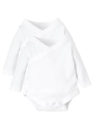 newborn romper van biologisch katoen - set van 2 wit