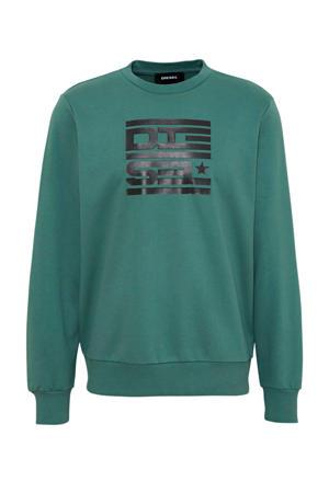 sweater S-Girk met printopdruk groen