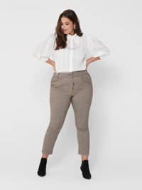ONLY CARMAKOMA geruite cropped slim fit broek grijs, Grijs