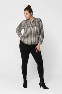 ONLY CARMAKOMA geruite blouse Fando zwart/wit, Zwart/wit