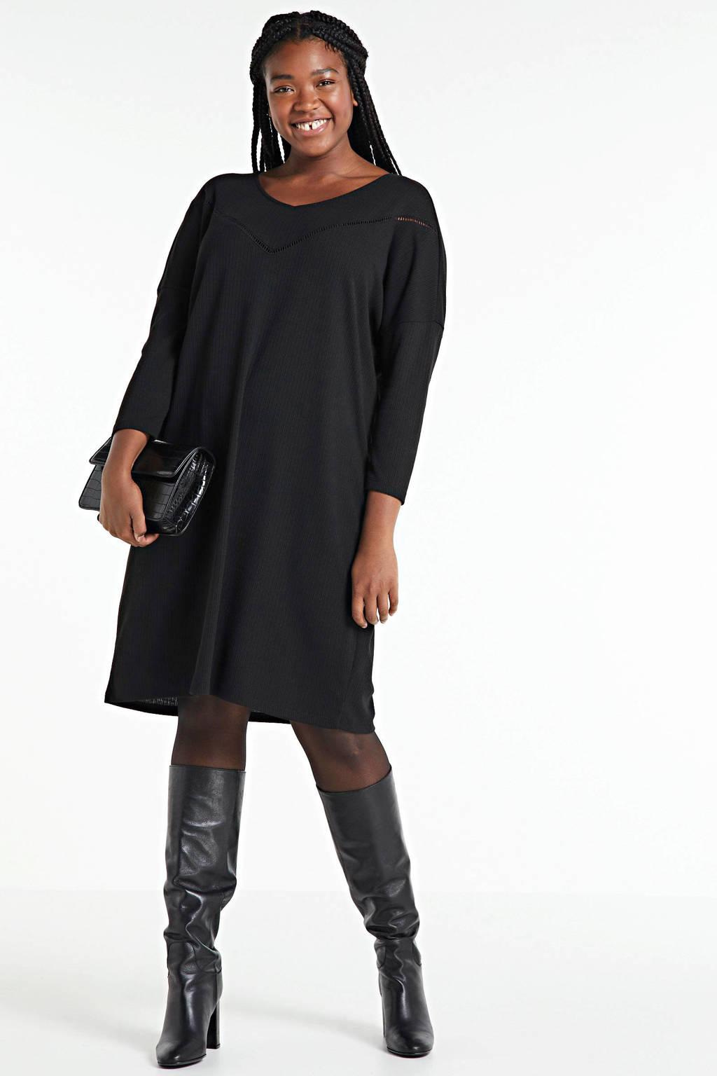 ONLY CARMAKOMA gebreide jurk Camilie met open detail zwart, Zwart