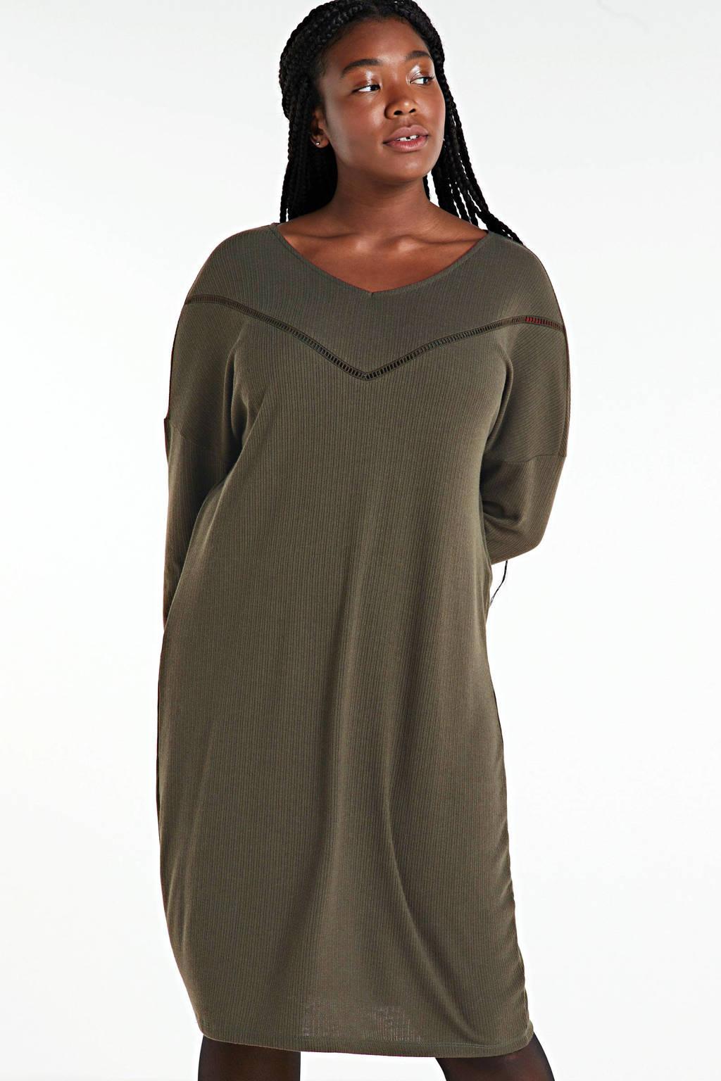 ONLY CARMAKOMA gebreide jurk Camilie met open detail groen, Groen
