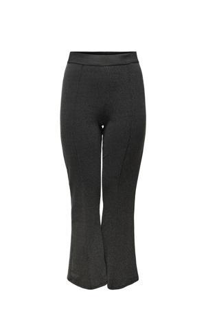 flared legging met glitters zwart