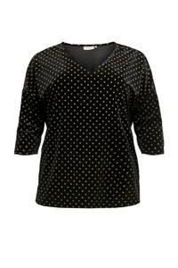 ONLY CARMAKOMA T-shirt met stippen zwart, Zwart