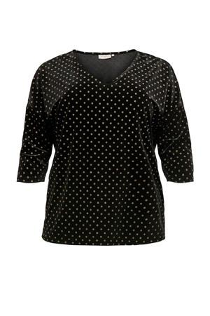 T-shirt met stippen zwart