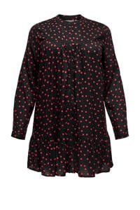 ONLY CARMAKOMA jurk met all over print zwart, Zwart