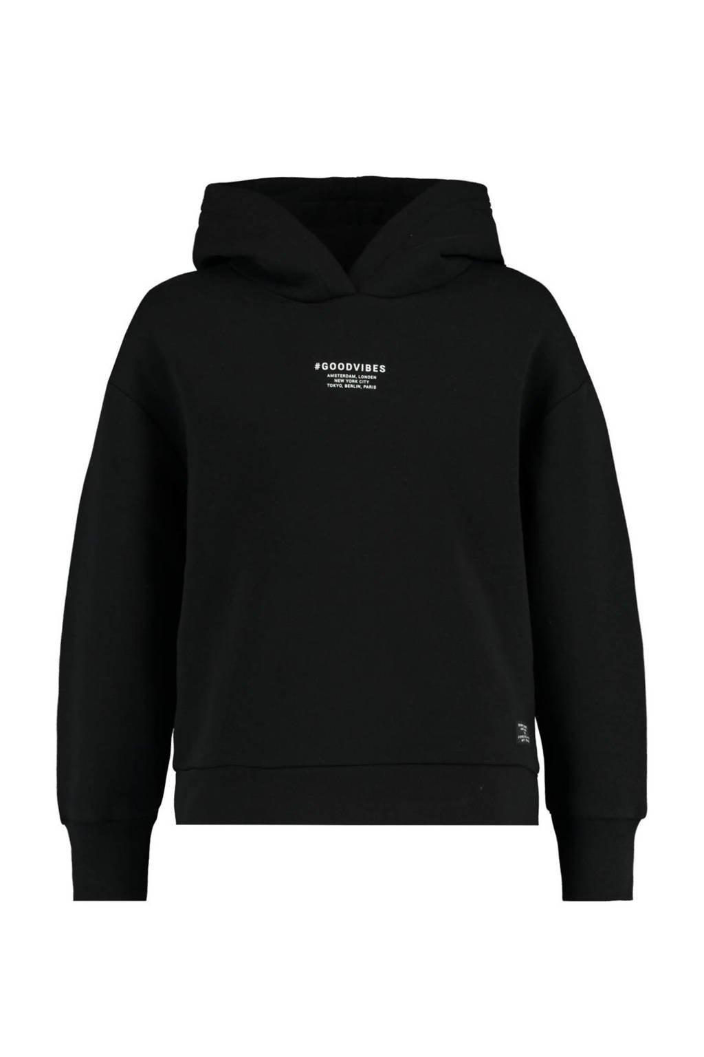 CoolCat Junior hoodie Saron met logo zwart, Zwart